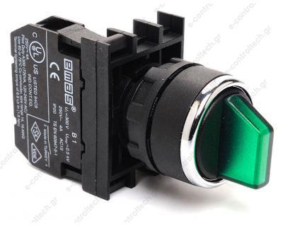 Διακόπτης 0-1 1N0 Πράσινος Φωτιζόμενος Φ22