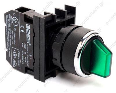 Διακόπτης 1-0-2 Φ22 Πράσινος Φωτιζόμενος Φ22