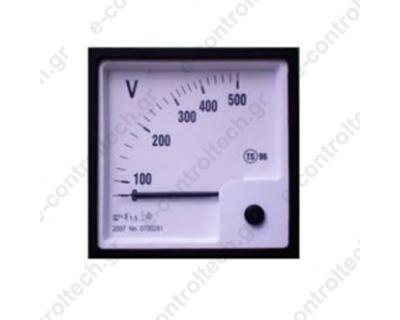 Βολτόμετρο Βελόνας Αναλογικό 96X96 500 V
