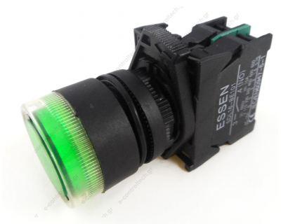 Μπουτόν Φ22 Πράσινο 1ΝΟ Φωτιζόμενο με Λυχνία 230V