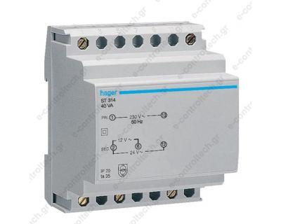 Μετασχηματιστής Ράγας 230V/12-24V 40 VA ST314