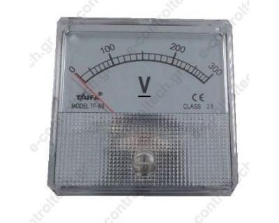 Βολτόμετρο Βελόνας Αναλογικό 60x60 300V AC