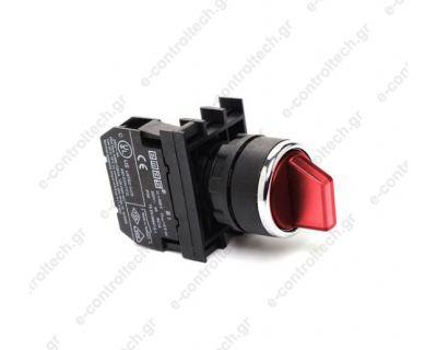 Διακόπτης 0-1 Πλαστικός Κόκκινος Φωτιζόμενος Φ22