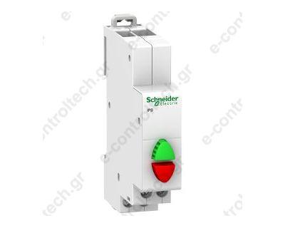 Μπουτόν Ράγας, διπλό, 1 ΝΟ+1 NC πράσινο/κόκκινο